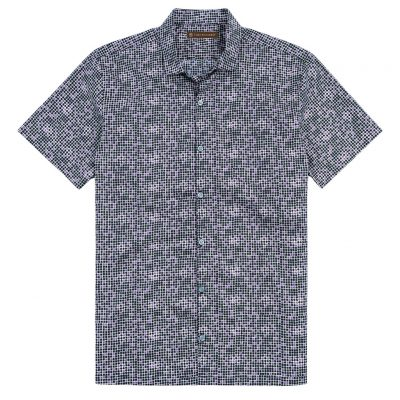 Men's Shirt, Tori Richard Cotton Lawn Relaxed Fit Short Sleeve, Tessellation #6406 Black