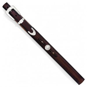 Men's Leather Belt By Brighton, Zambia Bead & Coin, #M40465 Brown
