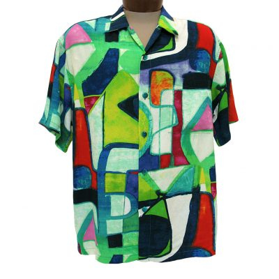 Men's Jams World Short Sleeve Original Crushed Rayon Retro Aloah Shirt, Aztec Candle
