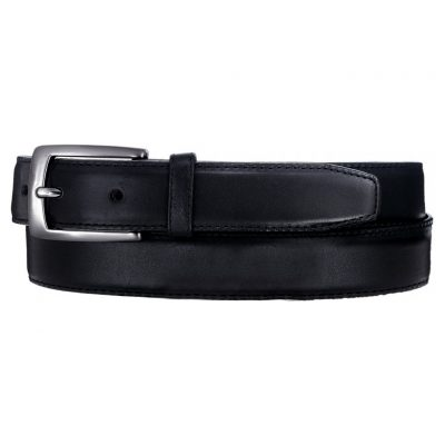 Men's Belt By Brighton/Leegin, Norton Dress Satin Buckle Leathrt Belt #20303 Black