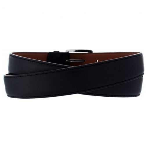 Men's Belt By Brighton/Leegin, Norton Dress Satin Buckle Leathrt Belt #20303 Black