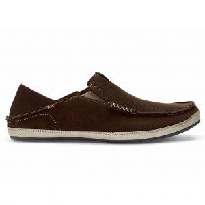 Men's OluKai Kauwela Sueded Microfiber Slip On Shoe #10367 Dark Wood/Silt