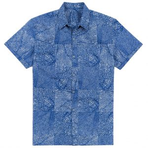 """Men's Shirt, Tori Richard Cotton Lawn Relaxed Fit Short Sleeve, Black Coral #MA02 Navy """"USE COUPON TR2 AT CHECK OUT"""""""