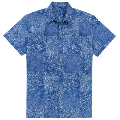Men's Shirt, Tori Richard Cotton Lawn Relaxed Fit Short Sleeve, Black Coral #MA02 Navy