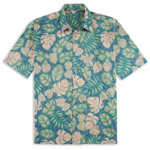 """Men's Tori Richard Cotton Lawn Relaxed Fit Short Sleeve Shirt, Henna Leaves #6818 Blue """"USE COUPON TR2 AT CHECK OUT"""""""
