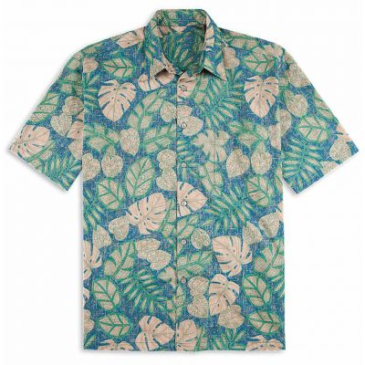 Men's Tori Richard Cotton Lawn Relaxed Fit Short Sleeve Shirt, Henna Leaves #6818 Blue