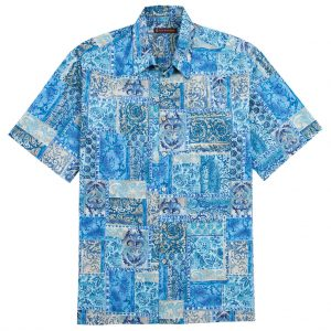 "Men's Tori Richard Cotton Lawn Relaxed Fit Short Sleeve Shirt, Maharaja #6386 Blue ""USE COUPON TR1 AT CHECK OUT"""