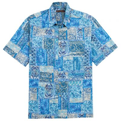 Men's Tori Richard Cotton Lawn Relaxed Fit Short Sleeve Shirt, Maharaja #6386 Blue