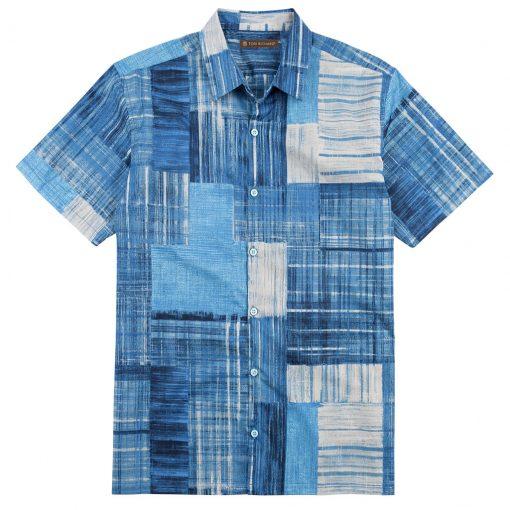 Men's Tori Richard Cotton Lawn Relaxed Fit Short Sleeve Shirt, Seismic #6444 Navy