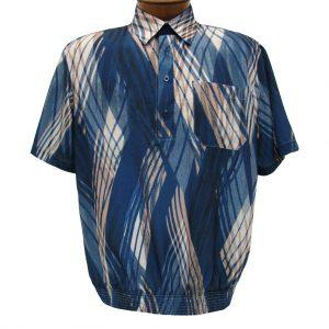 Men's Banded Bottom Short Sleeve Shirt, Bassiri Microfiber-Polyester #38865 Navy, Exclusively At Richard David For Men!