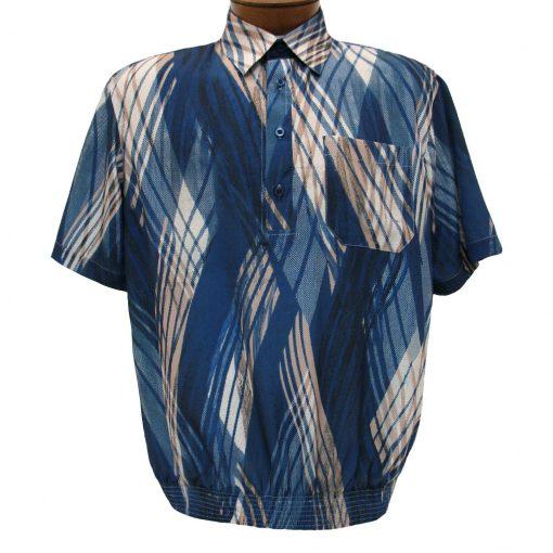 Men's Banded Bottom Short Sleeve Shirt, Bassiri Microfiber-Polyester #38865 Navy