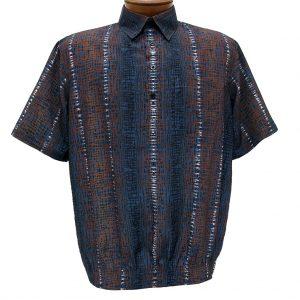 Men's Banded Bottom Short Sleeve Shirt, Bassiri Microfiber-Polyester #38955 Blue/Brown, Exclusively At Richard David For Men!