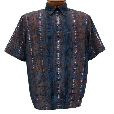 Men's Banded Bottom Short Sleeve Shirt, Bassiri Microfiber-Polyester #38955 Blue/Brown