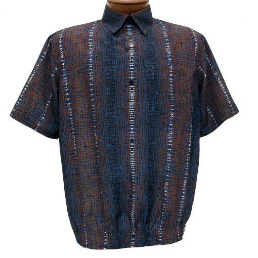 Men's Banded Bottom Short Sleeve Shirt, Bassiri Microfiber-Polyester #38955 Blue/Brown