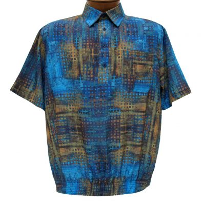Men's Banded Bottom Short Sleeve Shirt, Bassiri Microfiber-Polyester #61465 Royal