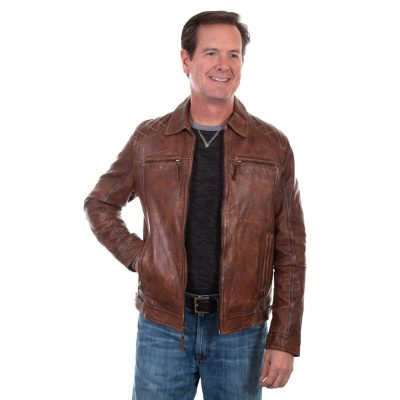 Men's Scully Premium Washed Lambskin Leather Jacket #727-154 Brown