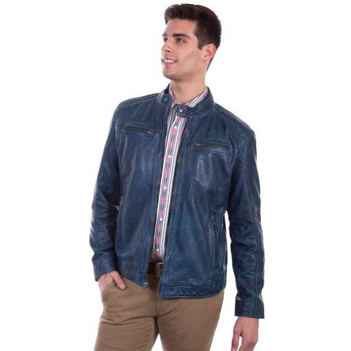 Men's Scully Premium Lambskin Leather Zip Front Jacket #7 Denim