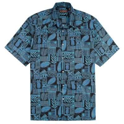 Men's Shirt, Tori Richard Cotton Lawn Relaxed Fit Short Sleeve, Entwined #MA12 Black