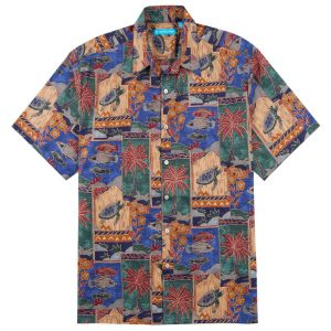 Men's Shirt, Tori Richard Cotton Lawn Relaxed Fit Short Sleeve, Marquises #1133 Blue (SOLD OUT!)