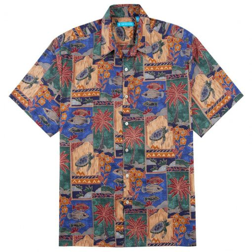 Men's Shirt, Tori Richard Cotton Lawn Relaxed Fit Short Sleeve, Marquises #1133 Blue