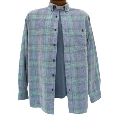 Men's Basic Options Long Sleeve Yarn Dyed Hombre Plaid Corduroy Shirt, #81043-53B Blue/Teal