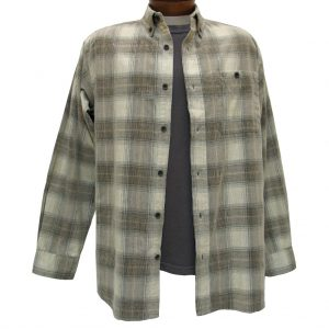 Men's Basic Options Corduroy Long Sleeve Yarn Dyed Hombre Plaid Shirt, #81043-12A Brown/Tan (L, ONLY!)