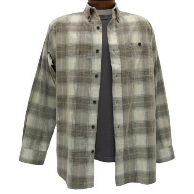 Men's Basic Options Long Sleeve Yarn Dyed Hombre Plaid Corduroy Shirt, #81043-87A Stone/Brown