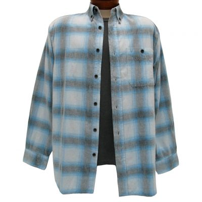 Men's Basic Options Long Sleeve Yarn Dyed Plaid Corduroy Shirt, #81640-53C Cream/Blue