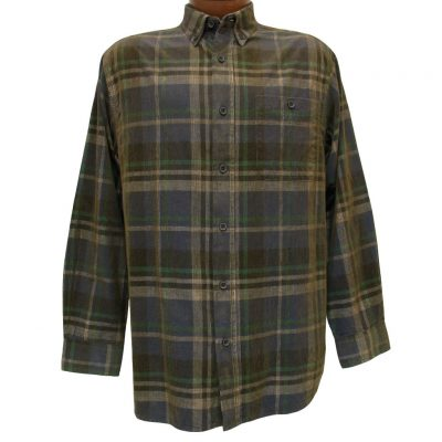 Men's Basic Options Long Sleeve Yarn Dyed Grid Plaid Corduroy Shirt, #81740-53A Navy/Tan