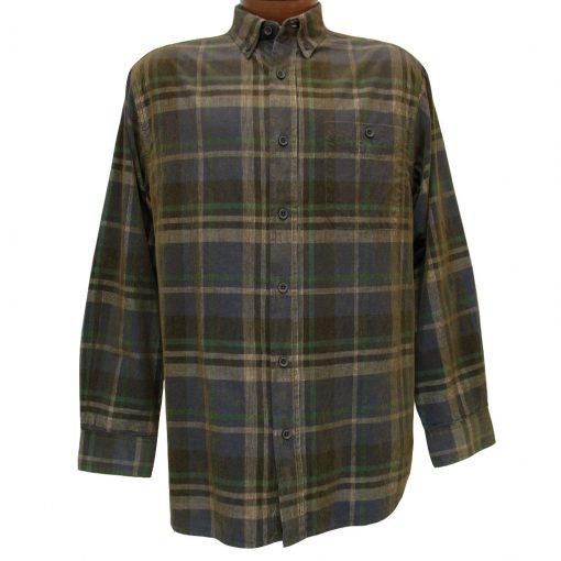 Men's Basic Options Long Sleeve Yarn Dyed Grid Plaid Corduroy Shirt, #81740-53A Navy/Tan