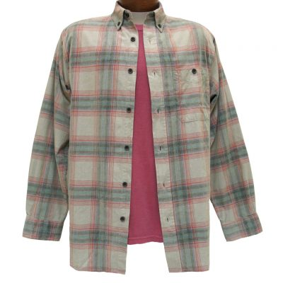 Men's Basic Options Long Sleeve Yarn Dyed Tartan Plaid Corduroy Shirt, #81744-5A Tan/Red/Blue