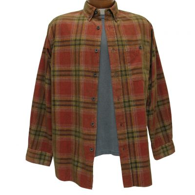 Men's Basic Options Long Sleeve Yarn Dyed Tartan Plaid Corduroy Shirt, #81744-6C Red/Black/Mustard