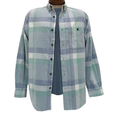 Men's Basic Options Long Sleeve Yarn Dyed Plaid Corduroy Shirt, #81845-4C Blue
