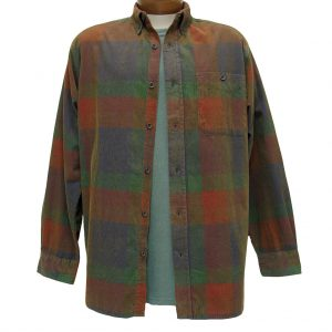 Men's Basic Options Long Sleeve Yarn Dyed Plaid Corduroy Shirt, #81845-5C Multi