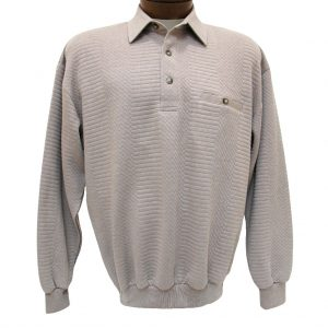 Men's Classics – LD Sport By Palmland Long Sleeve Solid Textured Banded Bottom Shirt #6094-950, Taupe Heather