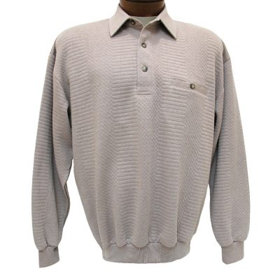 Men's Classics - LD Sport By Palmland Long Sleeve Solid Textured Banded Bottom Shirt #6094-950, Taupe Heather