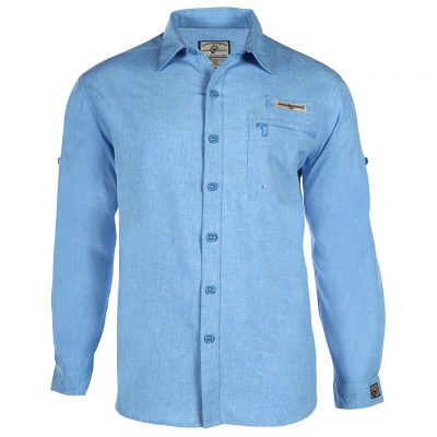Men's Shirt, Hook & Tackle, Long Sleeve Tamarindo Performance Sun Protection, Quick-Dry #M01054L Blue Heather
