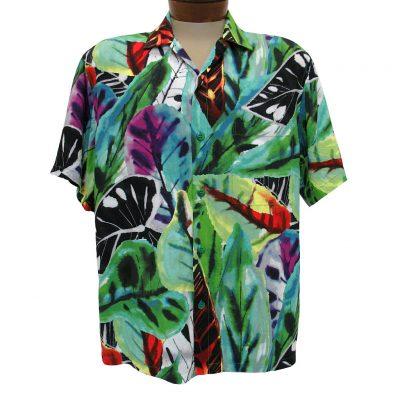 Men's Jams World Short Sleeve Original Crushed Rayon Retro Aloah Shirt, Jasper
