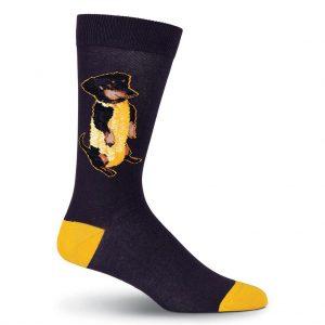 Men's K. BELL Novelty Crew Socks, Corn Dog Black