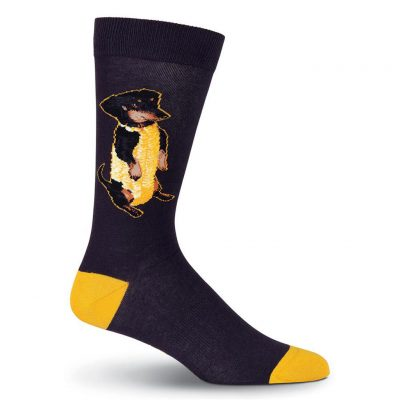 Men's K. BELL Novelty Crew Socks, Corn Dog Black