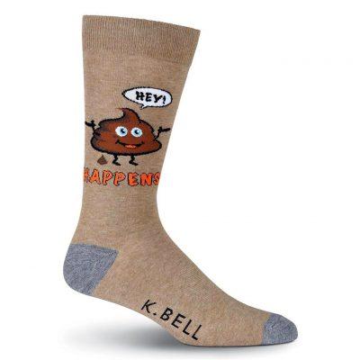 Men's K. BELL Novelty Crew Socks, It Happens Brown/Tan