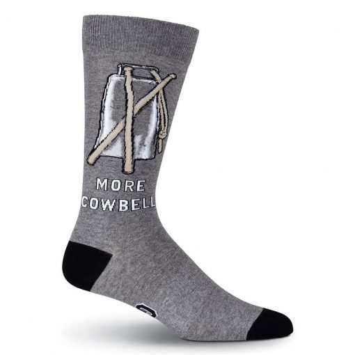 Men's K. BELL Novelty Crew Socks, More Cowbell Gray/Black