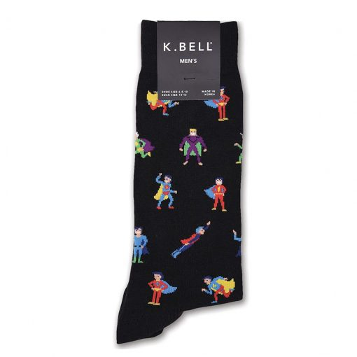 Men's K. BELL Novelty Crew Socks Super Heroes, Black