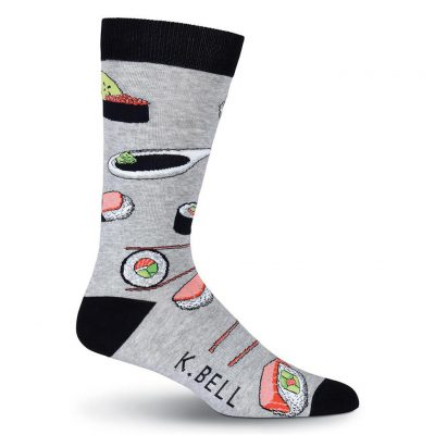 Men's K. BELL Novelty Crew Socks, Sushi Gray Heather