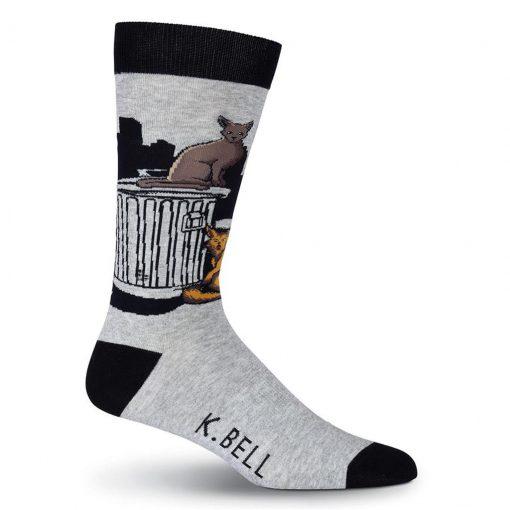 Men's K. BELL Novelty Crew Socks, Tom Cat Gray Heather
