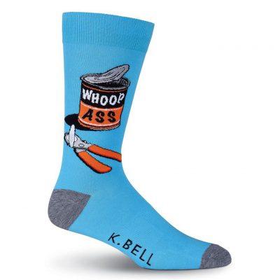 Men's K. BELL Novelty Crew Socks, Whoop Ass Blue