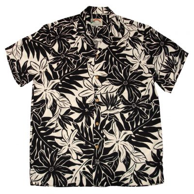 Men's Paradise Found Aloha Short Sleeve Camp Shirt, Tahitian Gardenia Black
