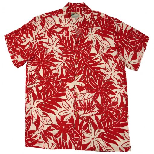 Men's Paradise Found Aloha Short Sleeve Camp Shirt, Tahitian Gardenia Red