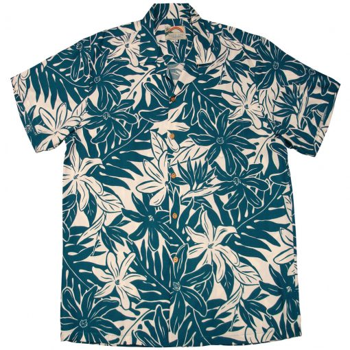 Men's Paradise Found Aloha Short Sleeve Camp Shirt, Tahitian Gardenia Teal