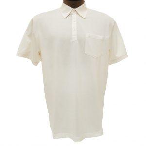 Men's Gabicci Short Sleeve Knit Hard Collared 52% Cotton 48% Polyester Polo Shirt, #Z05 Cream